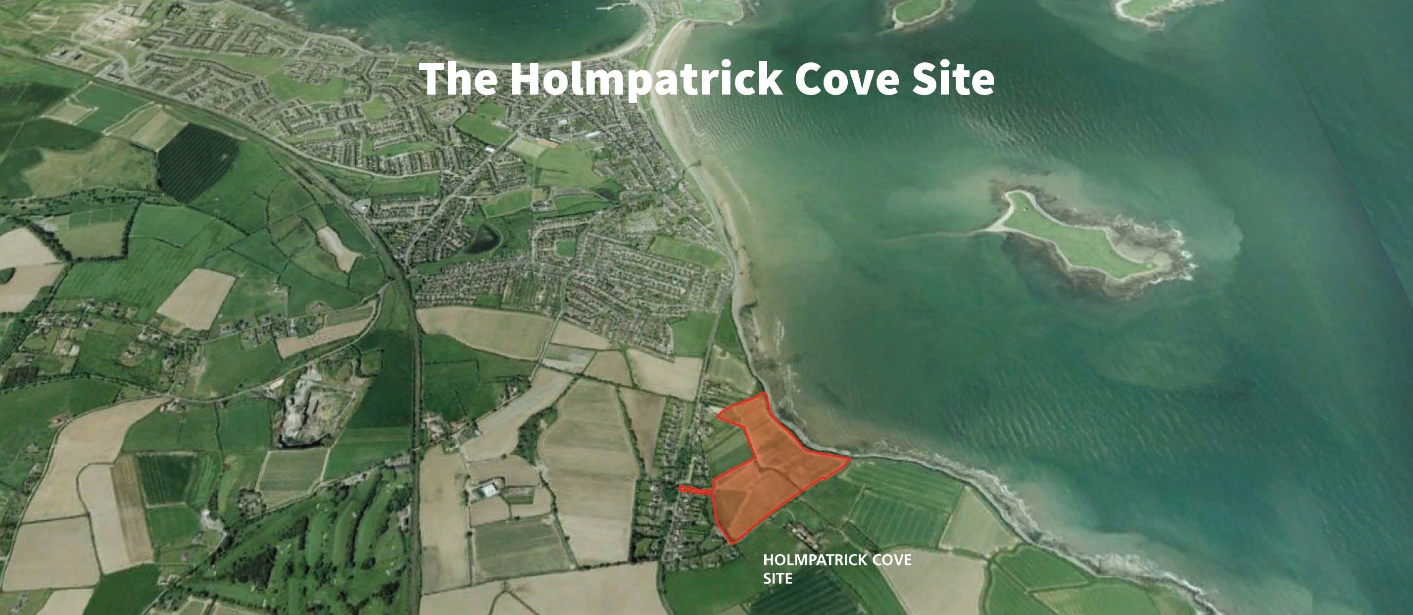 Satellite image of the Holmpatrick Cove site and greater Skerries